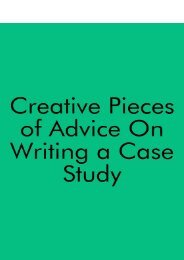 Creative Pieces of Advice on Writing a Case Study