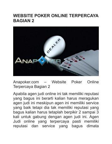 WEBSITE POKER ONLINE TERPERCAYA BAGIAN 2