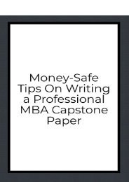 Money-Safe Tips On Writing a Professional MBA Capstone Paper
