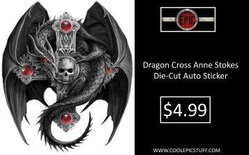 Dragon Cross Anne Stokes Die-Cut Auto Sticker - Epic Vision LLC
