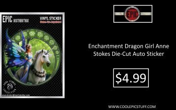 Enchantment Dragon Girl Anne Stokes Die-Cut Auto Sticker