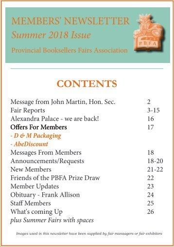 Members'  Newsletter - Summer Issue 2018