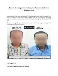 solve hair loss problem in best hair transplant clinic in bhubaneswar