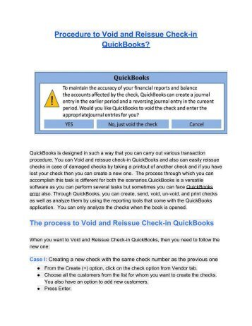 How to Void and Reissue Check-in QuickBooks?