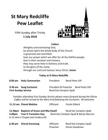 St Mary Redcliffe Church Pew Leaflet - July 1 2018