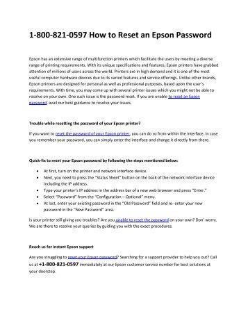 1-800-821-0597 How to Reset an Epson Password