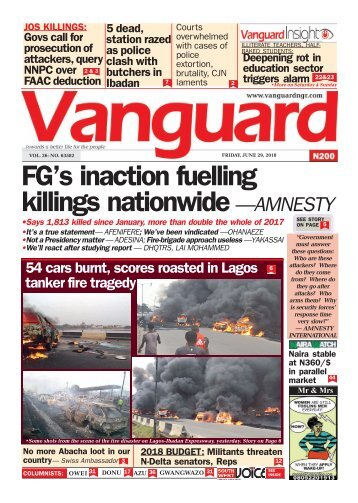 29062018 - FG's inaction fuelling killings nationwide —AMNESTY