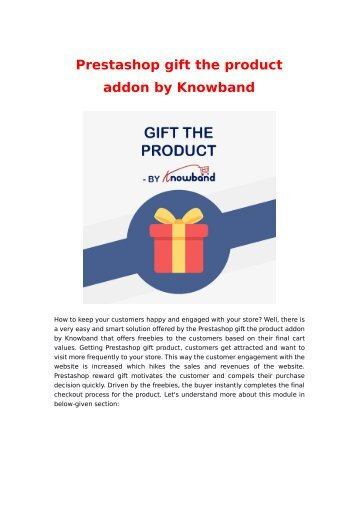 Prestashop Gift the Product Addon by Knowband