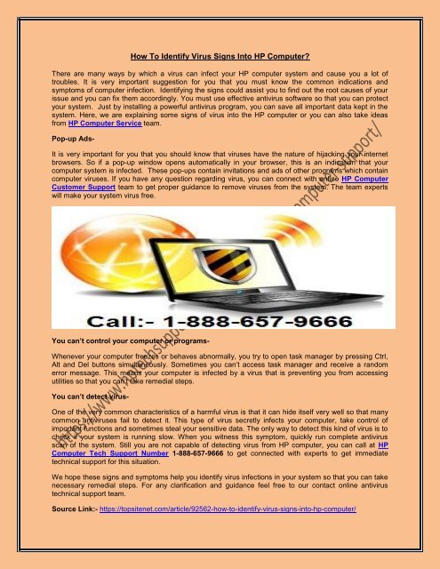 HP Computer Support Phone Number 1-888-657-9666