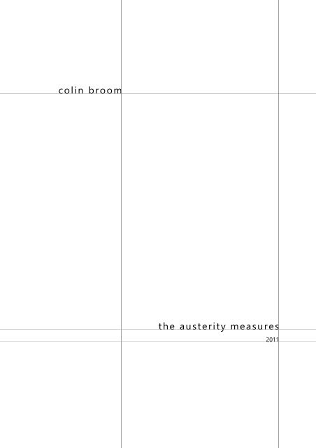Colin Broom - The Austerity Measures