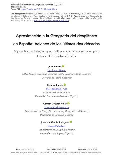 Aproximación a la Geografía del despilfarro en España: balance de las dos últimas décadas
