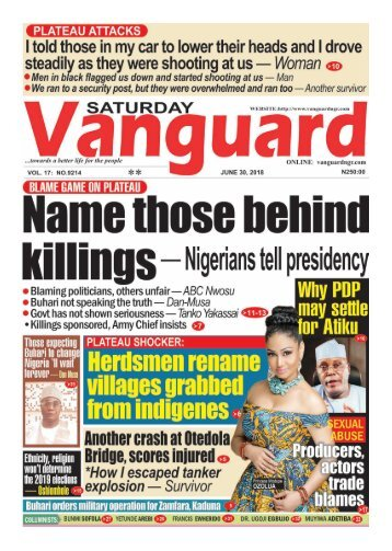 30062018 - BLAME GAME ON PLATEAU: Name those behind killings - Nigerians tell presidency