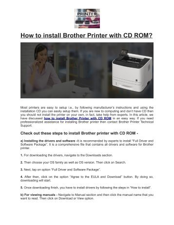 How to install Brother Printer with CD ROM