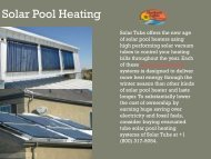 Best Solar Pool Heating System