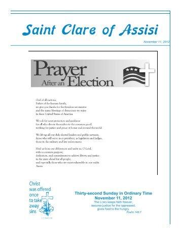 Bulletin - November 11, 2012 - Saint Clare of Assisi Parish