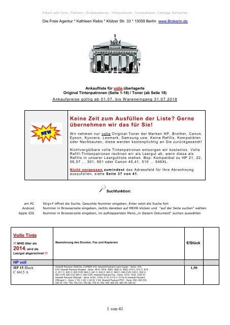Ankauf Ankaufliste volle Toner Tinten Patronen Juli2018