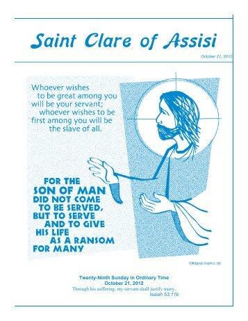 Bulletin - October 21, 2012 - Saint Clare of Assisi Parish