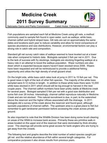 Medicine Creek 2011 Survey Summary - Nebraska Game and Parks ...
