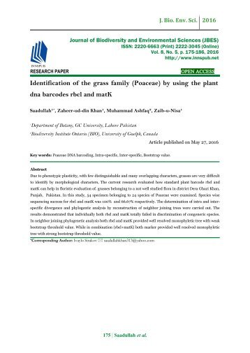 Identification of the grass family (Poaceae) by using the plant dna barcodes rbcl and matK