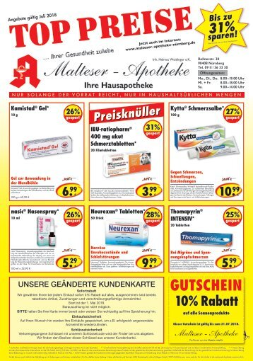 Angebote der Malteser Apotheke in Nürnberg  Juli 2018
