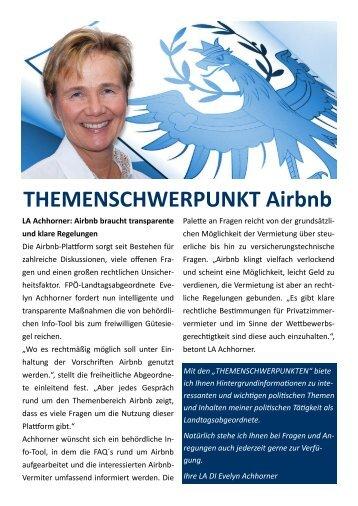 LA DI Achhorner, THEMENSCHWERPUNKT Airbnb