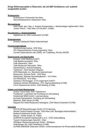 Einige Referenzprojekte in Österreich, die mit S&P ... - Soler