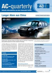 Langer Atem aus China - Automobil Cluster