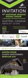 1st AustriAn PAssive House Forum & sustAinAble tecHnology ...
