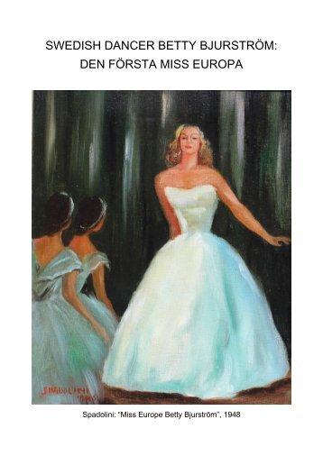 SWEDISH DANCER Betty Bjurstrom