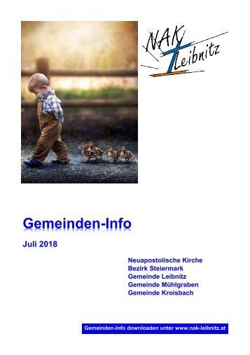 Gemeindeinfo Juli 2018