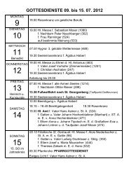 GOTTESDIENSTE 09. bis 15. 07. 2012 - Reith im Alpbachtal