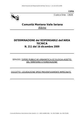 DETERMINAZIONE del RESPONSABILE dell'AREA TECNICA N ...