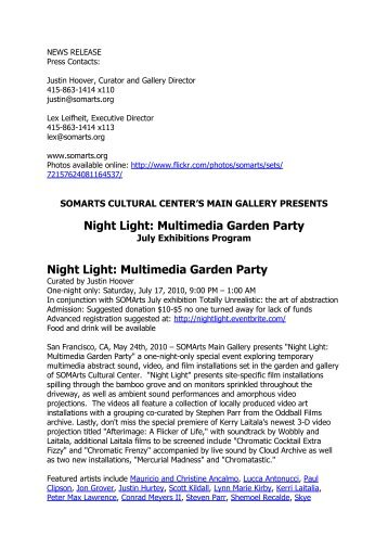 Night Light: Multimedia Garden Party - Peter Max Lawrence