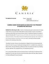 cambria names peter martin as executive vice president of ...