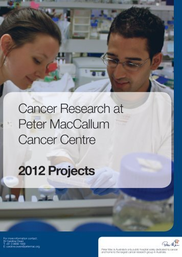 cancer research at peter mac research at the forefront of discovery