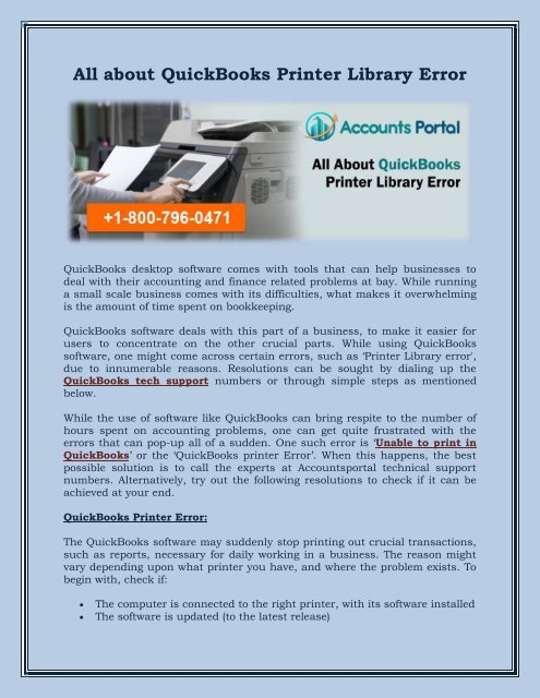 1-800-796-0471 All about QuickBooks Printer Library Error