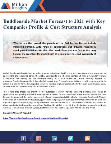 Buddleoside Market Forecast to 2021 with Key Companies Profile & Cost Structure Analysis