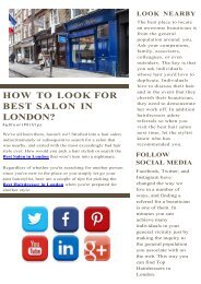 How to Look for Best Salon in London?