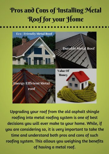 Pros and Cons of Installing Metal Roof for your Home