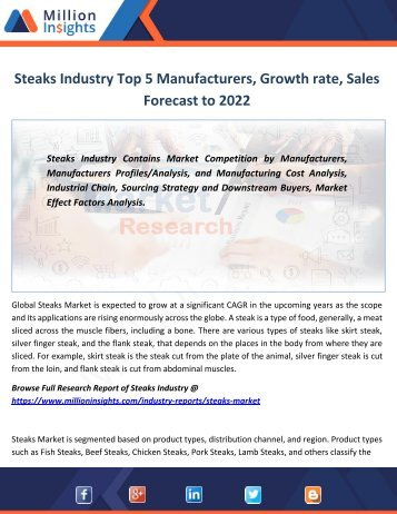 Steaks Industry Top 5 Manufacturers, Growth rate, Sales Forecast to 2022