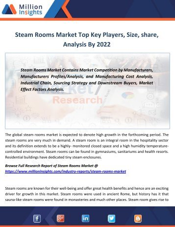 Steam Rooms Market Top Key Players, Size, share, Analysis By 2022