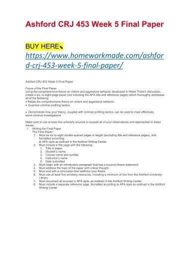 Ashford CRJ 453 Week 5 Final Paper