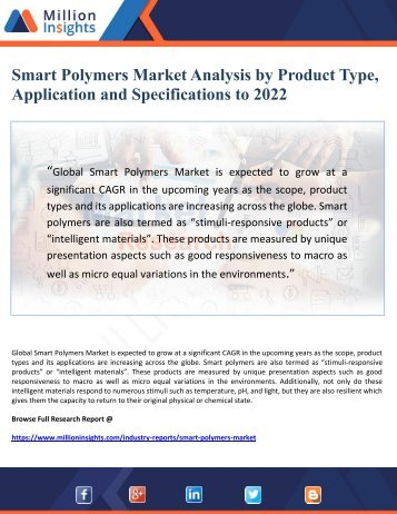 Smart Polymers Market Analysis by Product Type, Application and Specifications to 2022