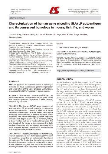 Characterization of human gene encoding SLA/LP autoantigen and ...