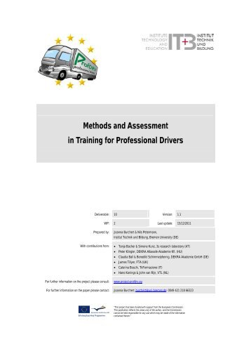 Methods and Assessment in Training for Professional Drivers