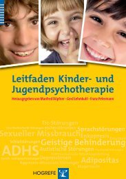 Leitfaden Kinder- und Jugendpsychotherapie - Hogrefe