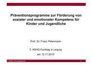 Präventionsprogramme zur Förderung von sozialer und emotionaler ...