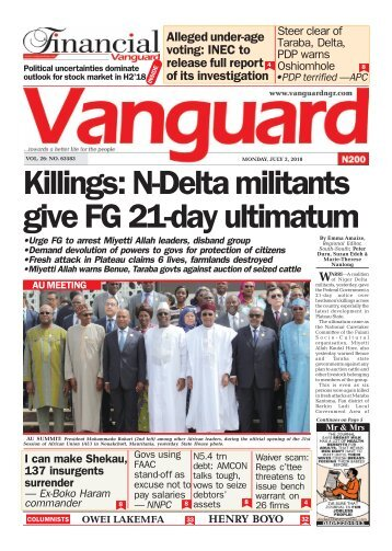 02072018 - Killings: N-Delta militants give FG 21-day ultimatum