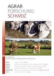 Sonderdruck Systemvergleich Milchproduktion Hohenrain - Swissmilk