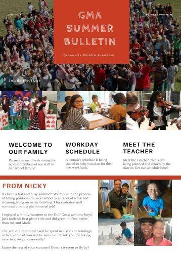 2018 Summer Bulletin